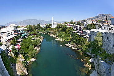 The town of Mostar and the Neretva River seen from the Stari Most (Old Bridge), Mostar, Bosnia and Herzegovina, Europe