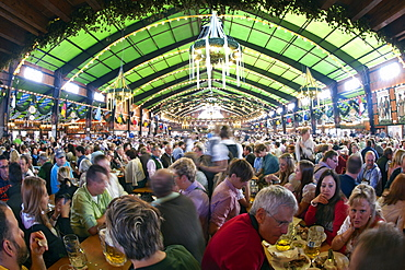 Interior of a beer tent at Oktoberfest in Munich, Bavaria, Germany, Europe