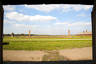 View across the former Auschwitz II-Birkenau concentration camp, UNESCO World Heritage Site, Poland, Europe