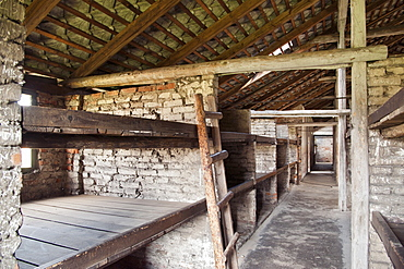 Interior of one of the barracks in the former Auschwitz II-Birkenau concentration camp, UNESCO World Heritage Site, Poland, Europe