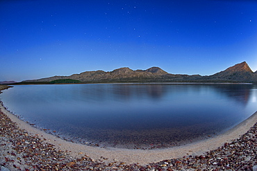 Dusk view of Steenbras Dam in the Western Cape Province of South Africa, Africa