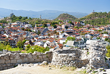 View from the ramparts of the ancient fortress on Nebet Hill in the old town in Plovdiv, the second largest city in Bulgaria, Europe