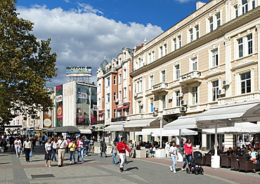 Knyaz Alexandar I pedestrian street in Plovdiv, the second largest city in Bulgaria, Europe