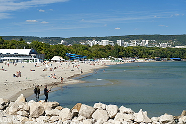 The beach along the Black Sea coast of Varna, the third largest city in Bulgaria, Europe