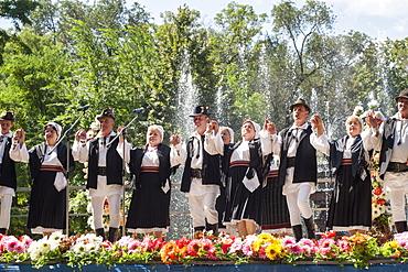 Moldovans in traditional costume celebrating Limba Noastra (National Language Day) on 31st August, Chisinau, the capital of Moldova, Europe