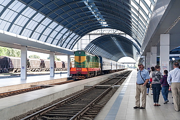 Platforms of the train station in Chisinau, the capital of Moldova, Europe