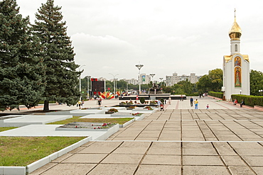 Hero's cemetery (the Memorial of Glory) and St. George Chapel in Tiraspol, Transnistria, Moldova, Europe
