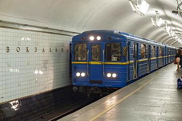 Platform and train in the Vokzalna metro station in Kiev,  Ukraine, Europe