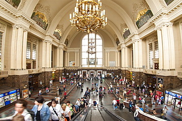 Main hall of the central train station in Kiev, Ukraine, Europe