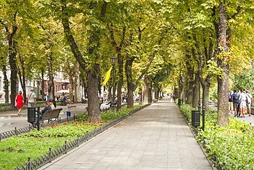 Shaded pedestrian walkway leading to the Potemkin Stairs in Odessa, Ukraine, Europe