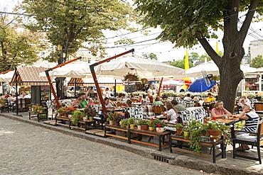 Cafes on Deribasovskaya street in Odessa, Ukraine, Europe