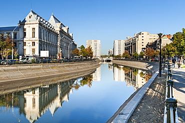 The Dimbovita River in Bucharest, Romania, Europe