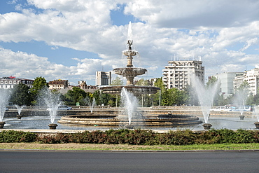 The fountains of Piasa Unirii (Unification Square) in Bucharest, Romania, Europe