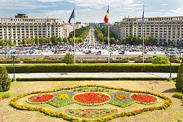 View of Unification Boulevard from the balcony of the Palace of the Parliament in Bucharest, Romania, Europe