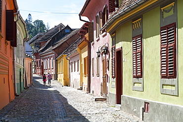 Houses in the citadel of Sighisoara, UNESCO World Heritage Site, in the Transylvania region of central Romania, Europe