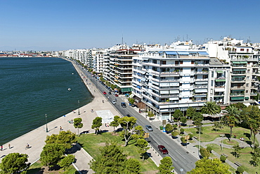 View from the White Tower (Lefkos Pyrgos) of the waterfront and buildings on Nikis Avenue in Thessaloniki, Greece, Europe
