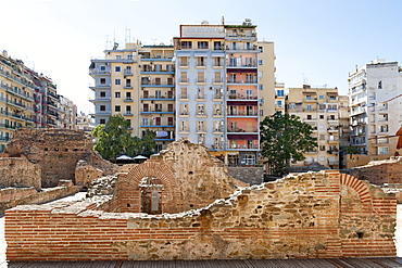 Ruins of the Roman-era Imperial Palace of Galerius on Navarinou square in Thessaloniki, Greece, Europe