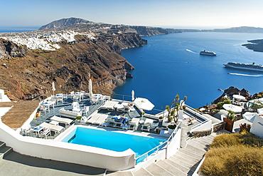 View from a house in Imerovigli on the Greek island of Santorini, Cyclades, Greek Islands, Greece, Europe