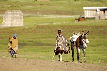 A Basotho child and elderly lady walking with a donkey in the village of Semonkong in Lesotho, Africa