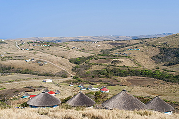 Xhosa huts on the hills near Coffee Bay in South Africa's Eastern Cape Province