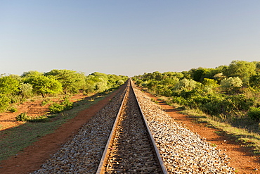 View along the railway line running between Maputo and Zimbabwe through the Mozambican province of Gaza.