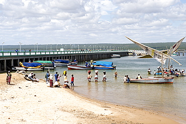 View of dhows along the pier in the Mozambican town of Inhambane.