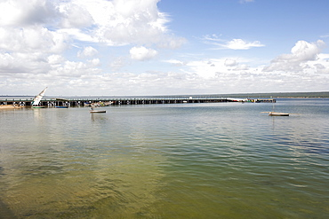 View of the pier and estuary at the town of Inhambane in Mozambique.