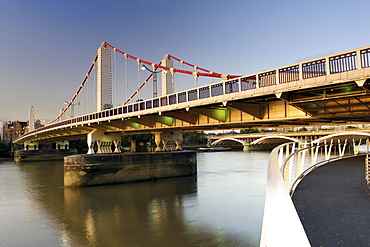 Chelsea Bridge which spans the Thames River in London.