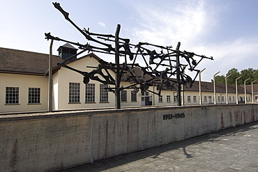 Sculpture outside the main museum building at the former Dachau Concentration Camp on the outskirts of Munich, Bavaria, Germany, Europe