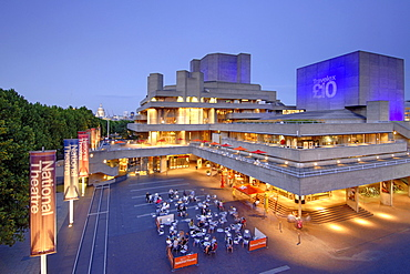 The National Theatre on London's south bank at dusk.