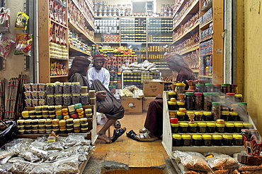 Spices and assorted goods for sale in a shop in the the Mutrah souk in Muscat, the capital of the sultanate of Oman.