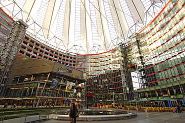 Interior of the Sony Centre in Potsdamer Platz, Berlin, Germany, Europe