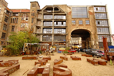 Rear facade of the Kunsthaus Tacheles building, a former department store bombed during World War II, now housing a gallery and small theatre, Mitte District, East Berlin, Germany, Europe