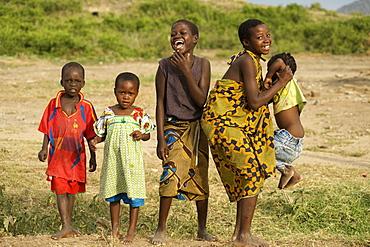 Portrait of Ugandan children in a village in Kabwoya wildlife reserve on the shores of Lake Albert in Uganda.