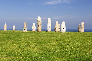 Menhir sculptures of Manuel Paz in the town of La Corun~a in Spain's Galicia region.