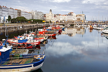 Boats in the marina in the town of La Corun~a in Spain's Galicia region.