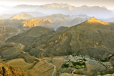 View over the village of Hat from the summit of Sharaf Al Amein in  the mountains of Jebel Akhdar in Oman.