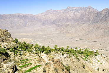 The village of Wekan and its plantations situated high in the Ghubrah bowl region of the Jebel Akhdar mountains in Oman.