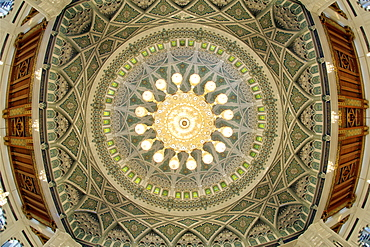 Fish-eye lens view of the chandelier and roof inside the prayer area of the Sultan Qaboos Grand Mosque in Muscat, the capital of Oman.