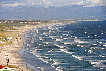 View along Muizenberg and strandfontein beaches in False Bay along Cape Town's Indian Ocean coastline.