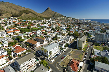 View from the top of the Ritz hotel of the suburb of Seapoint in Cape Town South Africa.