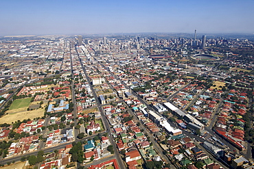 Aerial view of downtown Johannesburg and its eastern suburbs in South Africa.