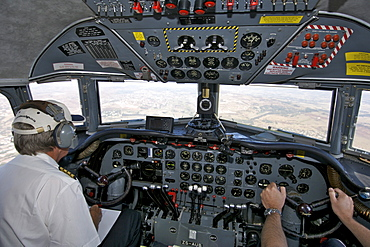 Cockpit of a Douglas DC-4 (ZS-AUB) first operated by South African Airways in the 1950s but now operated by Historic Flights from Rand Airport in Johannesburg South Africa.