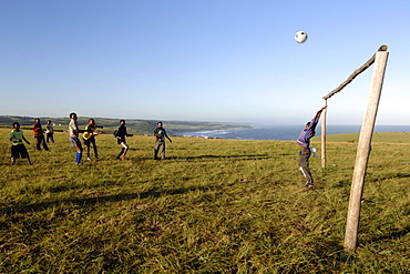 Young Xhosa boys playing football on the hills near Mazeppa Bay in the Eastern Cape Province of South Africa.