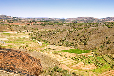 Landscape with rice paddies and assorted crops approximately 20 kms north of Antananarivo, Madagascar, Africa