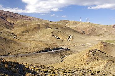 Mountain scenery in the High Atlas Mountains along the Tizi N'Tichka pass road between Ouarzazate and Marrakech in Morocco