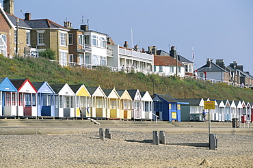 Beach huts on the seafront of the resort town of Southwold, Suffolk, England, United Kingdom, Europe