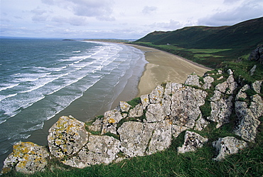 Looking from the cliffs at Rhossili, above Rhossili Bay, towards Llangennith at far west of the Gower Peninsula, West Glamorgan, Wales, United Kingdom, Europe
