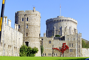 The southern walls of Windsor Castle, with the Round Tower within, the castle has been home to Royalty for 900 years, Windsor, Berkshire, England, UK