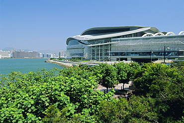 The Hong Kong Convention & Exhibition Centre, known locally as 'The Spaceship', on the harbour front of Wan Chai, Hong Kong Island, Hong Kong, China